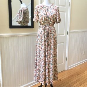 Vintage 70's Floral Boho Hippie Maxi Dress Medium